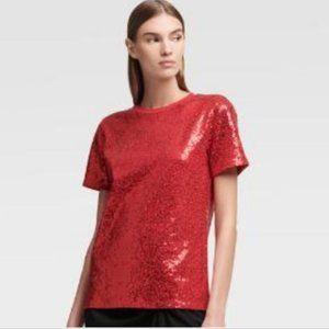 DKNY Red Sequin Crew Neck Tee Top